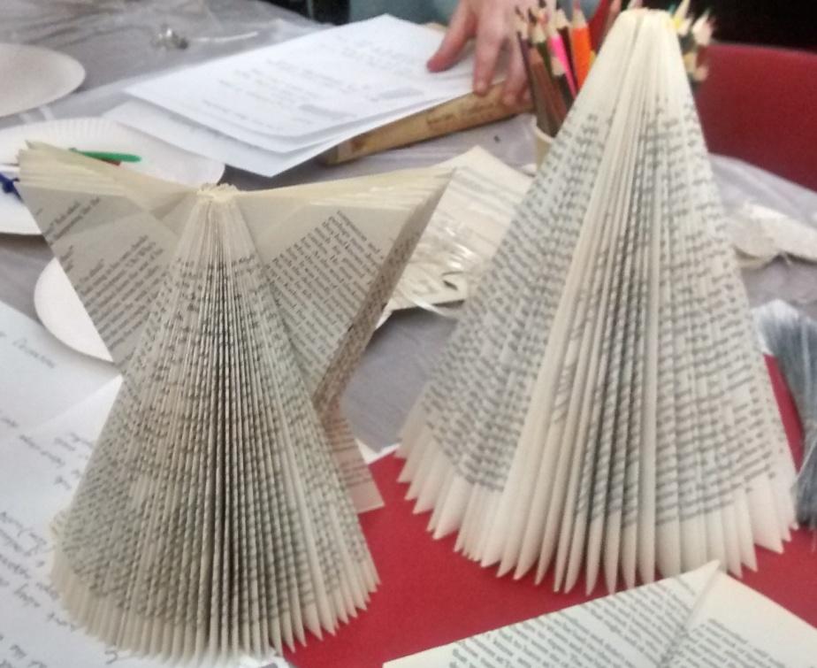 tree and angel folded books