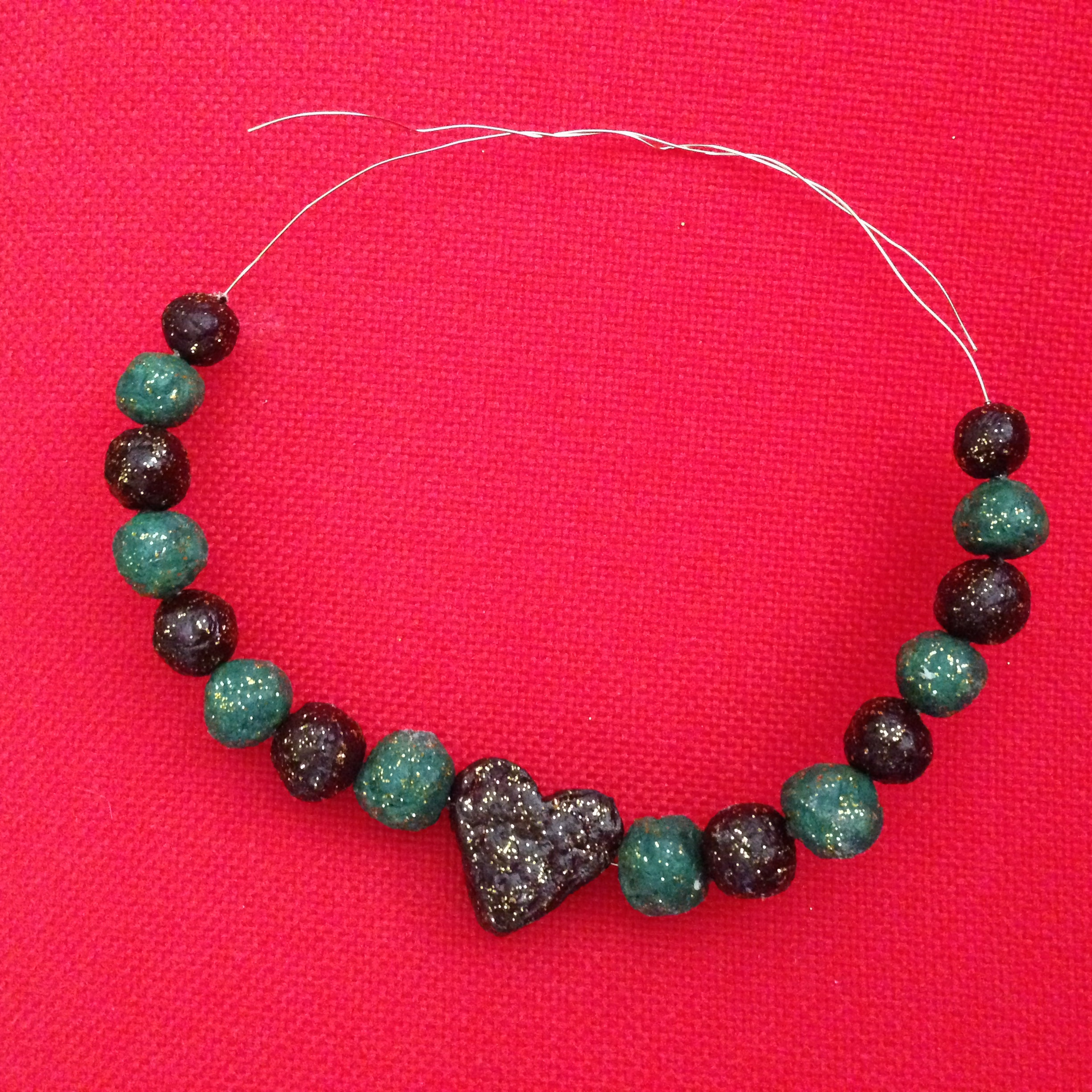 beads one choker on form mache paper necklace etsy pin items similar this to tribal washed primitive patterns with silver nugget large
